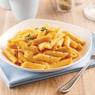 Pennes, sauce crémeuse au parmesan et courge Butternut - Soupers de semaine - Recettes 5-15 - Recettes express 5/15 - Pratico Pratique