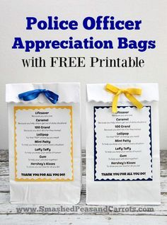 Police Officer Appreciation Bags with FREE Printable // SmashedPeasandCarrots.com