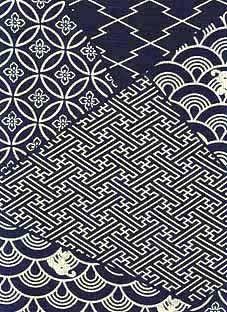 tissu teint à l'indigo - motifs traditionnels japonais