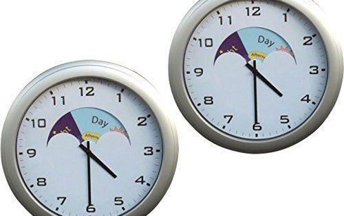 Pack of 2 analogue dementia day/night clocks