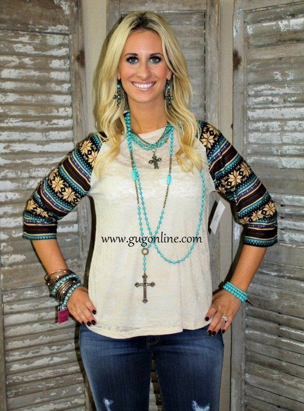 Wondering Eye Taupe and Brown Aztec Baseball Burnout Tee