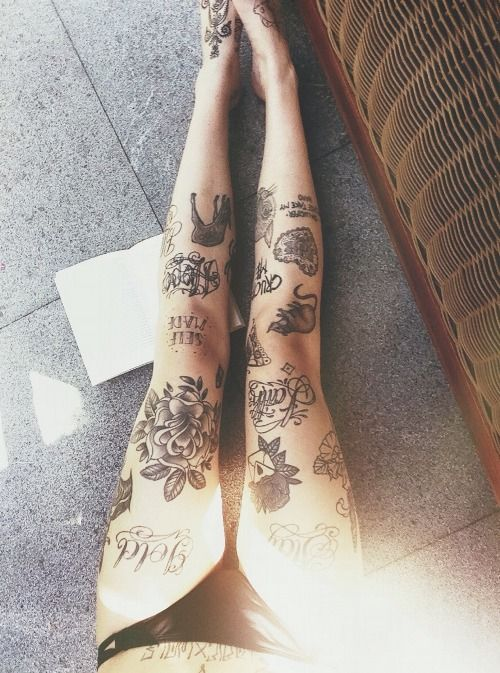 these legs belong to the same girl that I pinned a picture of in the bathtub with coffee mug. it's cool to see what the rest of her tattoos look like.