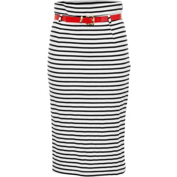 Belted Striped Midi Pencil Skirt| Spoiled Brat Pencil Skirt (250 CAD) ❤ liked on Polyvore featuring skirts, юбки, midi skirt, stripe midi skirt, calf length pencil skirts, striped pencil skirt and belted pencil skirts