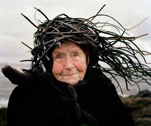 "Old Finnish People With Things On Their Heads 01. Photographers, Karoline Hjorth and Riitta Ikonen came up with something truly peculiar and special, in their photo series Eyes As Big As Plates. Their subjects are old, super serious and Finnish, all while wearing ridiculous ""organic"" head pieces and attire…need I say more?"