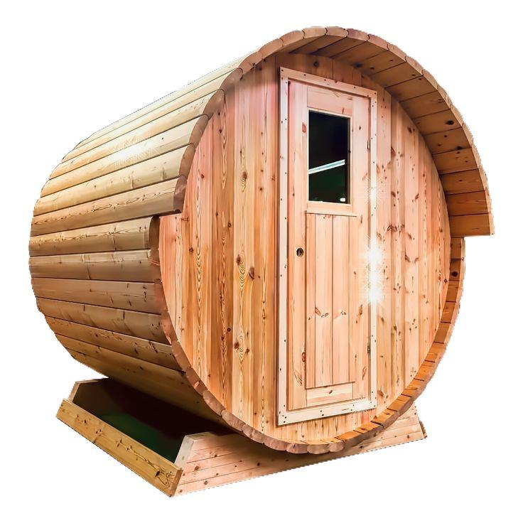 Ukko European Larch Barrel sauna with small overhang and traditional door.
