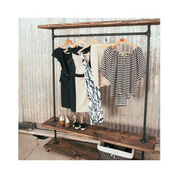 48in I-Rack Double Shelf - Pipe and Wood Furniture - Industrial Clothing Rack - Clothes Rack - Pipe Rack
