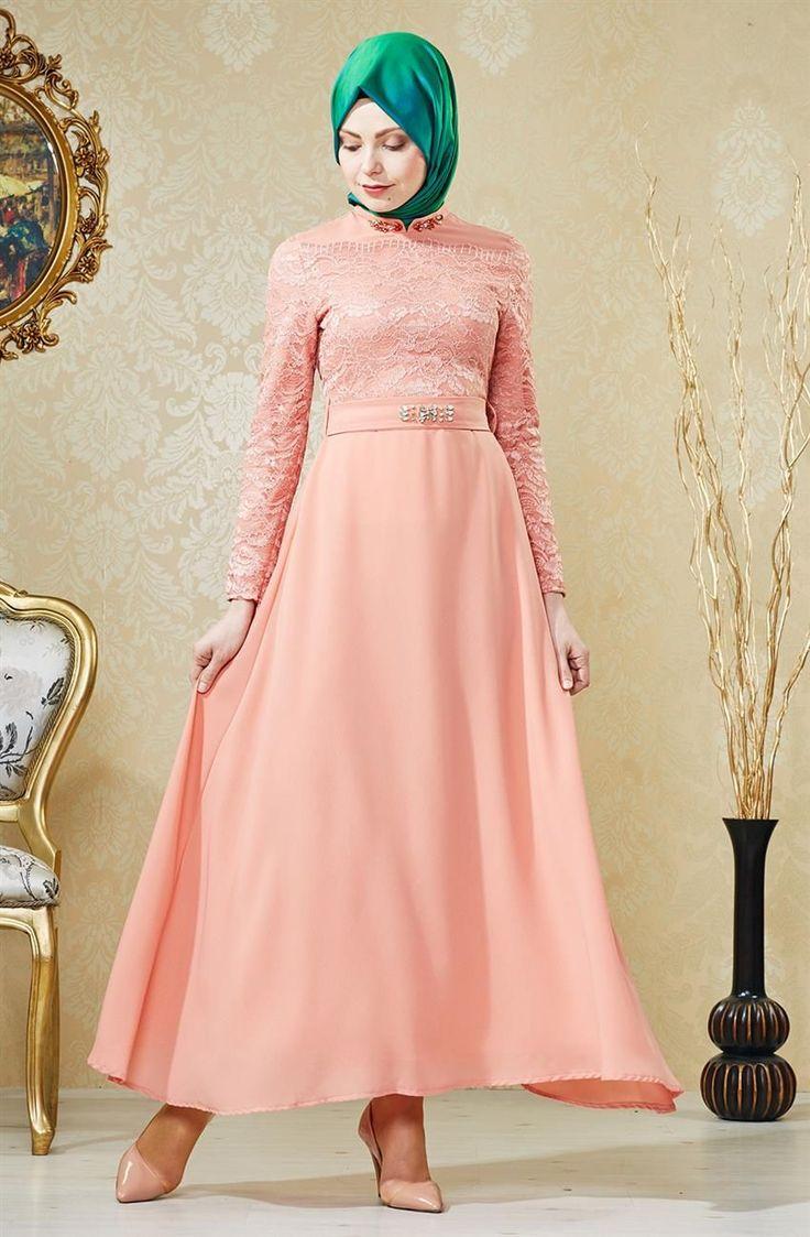 Nihan Abiye Elbise-Pudra V4155-17