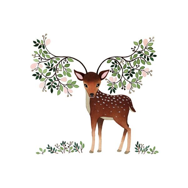 Tiny deer with floral and leafy antlers - what a love of an illustration by Anna Emilia