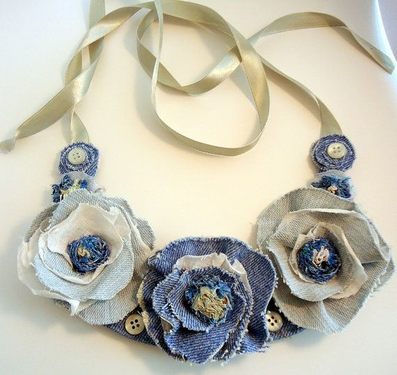 Textile Necklace/Free Shipping/Textile Jeans Necklace/ Linen Necklace in Denim, Linen, Unique Handmade Beautiful Necklace,Textile jewelry