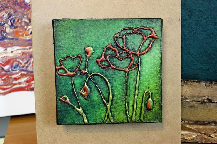 How to Paint POPPIES with HOT GLUE TEXTURE