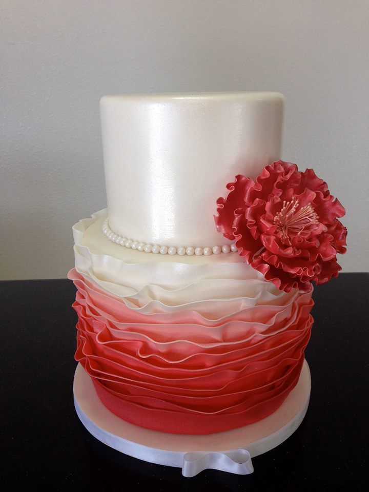 Coral Ombre ruffles with gumpaste peony accent wedding ...