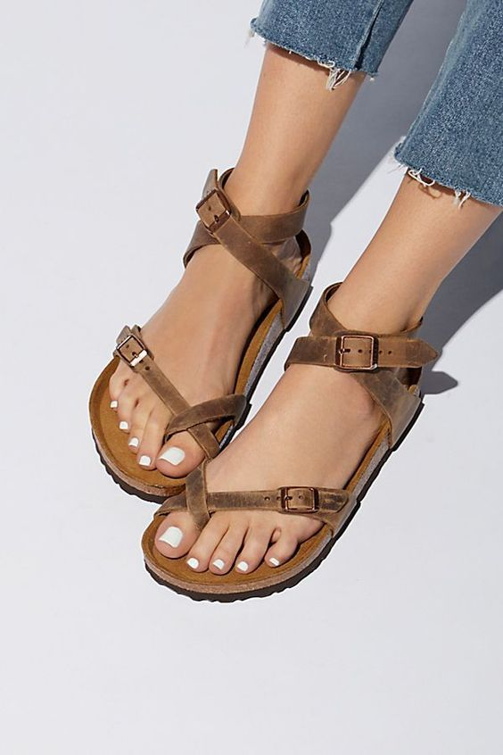 1ad16c467415 Shop Women s Birkibuc Yara Leather Sandal in Mocha by Birkenstock on  Country Club Prep with free shipping