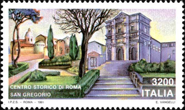 1991 - Monumenti nazionali: il Centro storico di Roma - veduta pittorica della Chiesa di San Gregorio al Celio con il paesaggio circostante.
