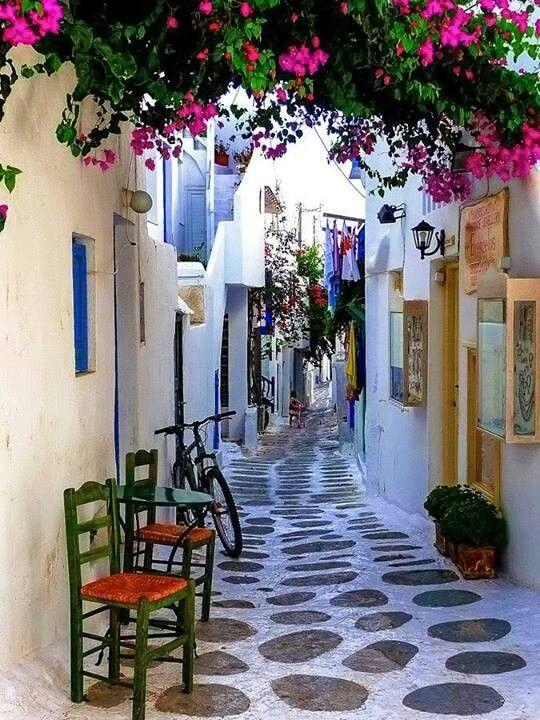 Springtime walk in the traditional old town of Parikia on Paros - Greek Islands Greece/Grekland