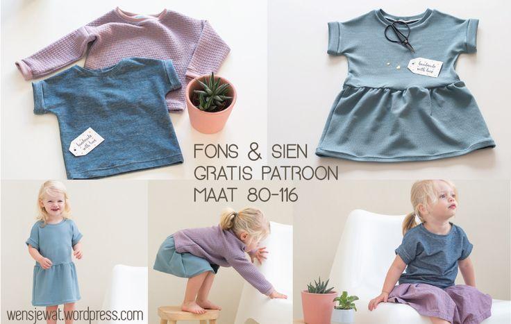 Gratis patroon Fons en Sien shirt en jurkje korte en lange mouwen