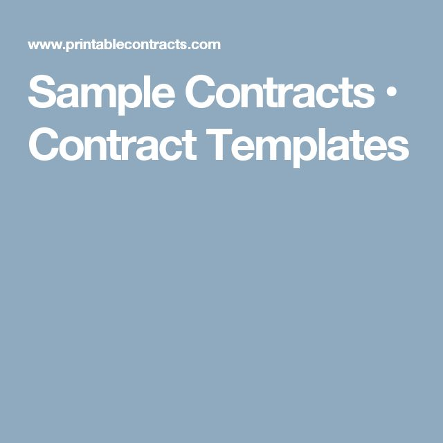 Sample Contracts • Contract Templates