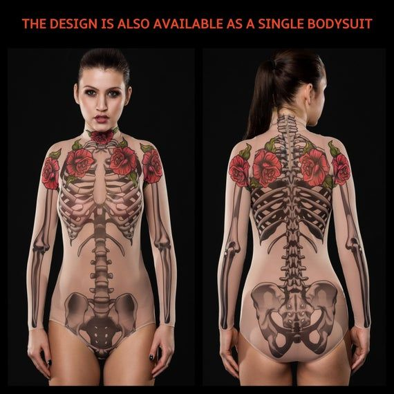 TATTOO SKELETON Bodysuit & Leggings SET, Skeleton Costume, Halloween Bodysuit, Halloween Clothes Set, Mesh Bodysuit, Faux Tattoo Costume
