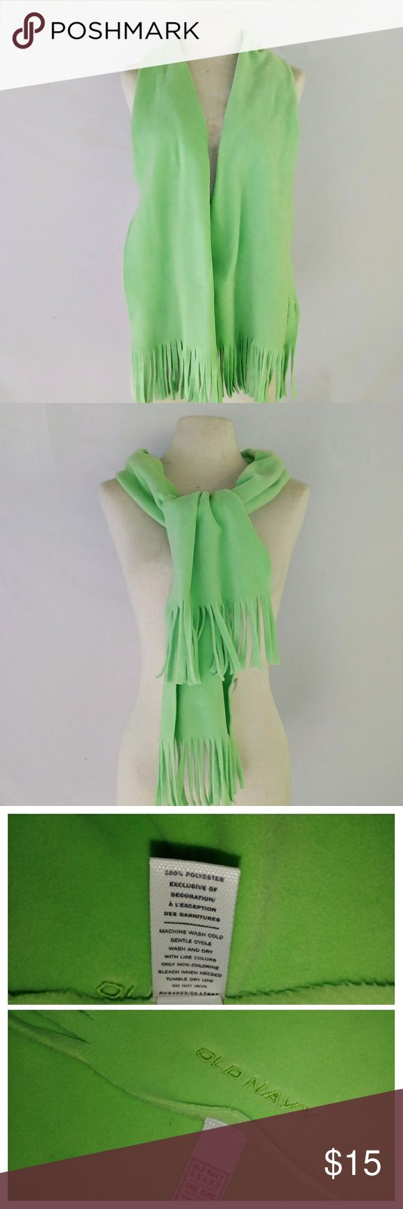 OLD Navy Fleece Scarf Bright Soft Spring Green Fleece Scarf with Fringe by Old Navy. In excellent used condition. From a smoke free home. Make an offer! BUNDLE & Automatically Get 20% Off on 2+ Items. Bundle one or more items and I'll make you a customized offer up to 40% off - the bigger the bundle the bigger the savings! *2017 SUGGESTED USER* Old Navy Accessories Scarves & Wraps