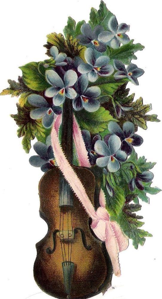 Oblaten Glanzbild scrap die cut  chromo Musik Instrument  Violoine Geige violet