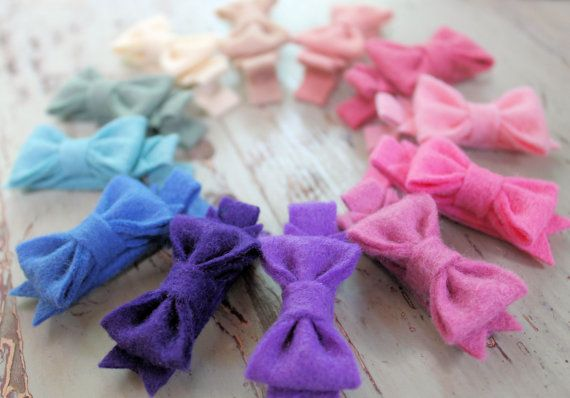 Tiny Felt Bow Clips  Pick 3 Colors  Wool by LittleBloomsHandmade, $8.00