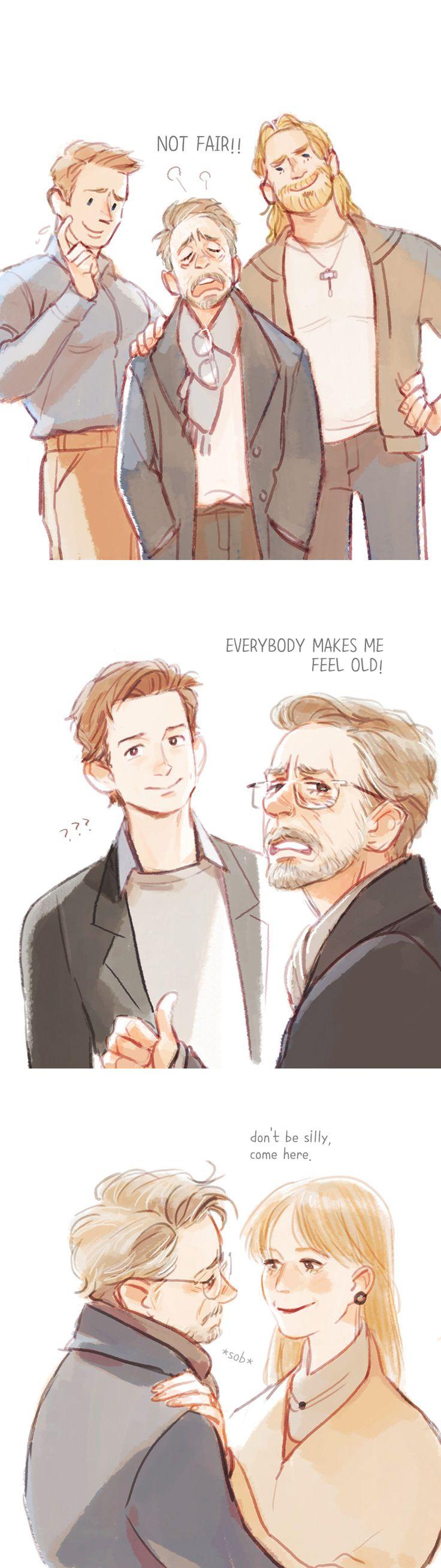 Tony Stark (Silver Fox) and Pepper Potts,Steve Rogers,Thor Odinson,Peter Parker