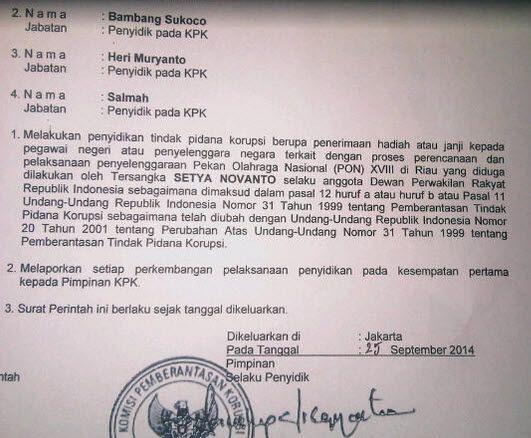 Jakarta, Seruu.com - Surat Perintah Penyidikan (Sprindik) yang mengatasnamakan Komisi Pemberantasan Korupsi (KPK)  yang berisi tentang penetapan tersangka terhadap Ketua DPR sekaligus politisi Partai Golkar, Setya Novanto, beredar.