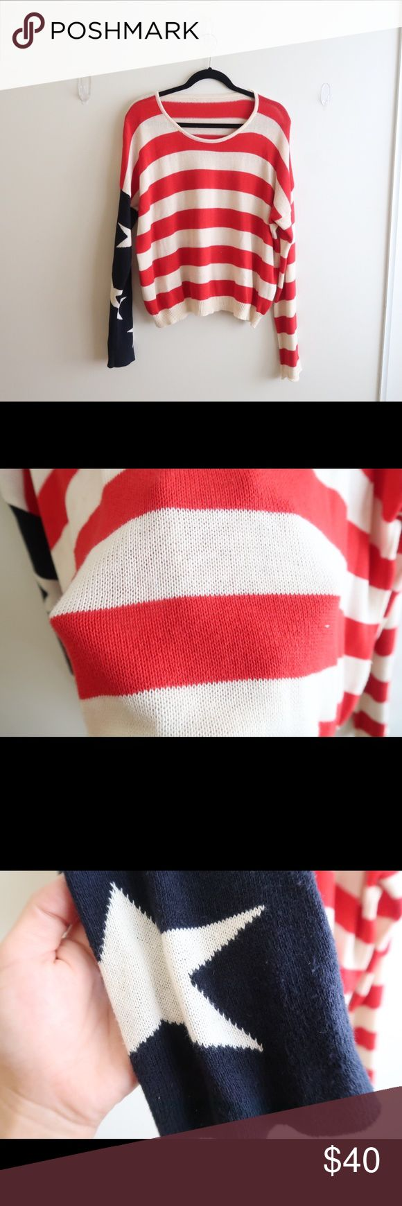 BM Cassidy American Flag Sweater Purchased from Brandy Melville (online). 100% Cotton. Worn a couple times. No visible flaws. [B1] Brandy Melville Sweaters Crew & Scoop Necks