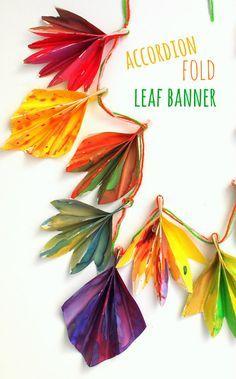 Accordion folded autumn paper leaf banner.