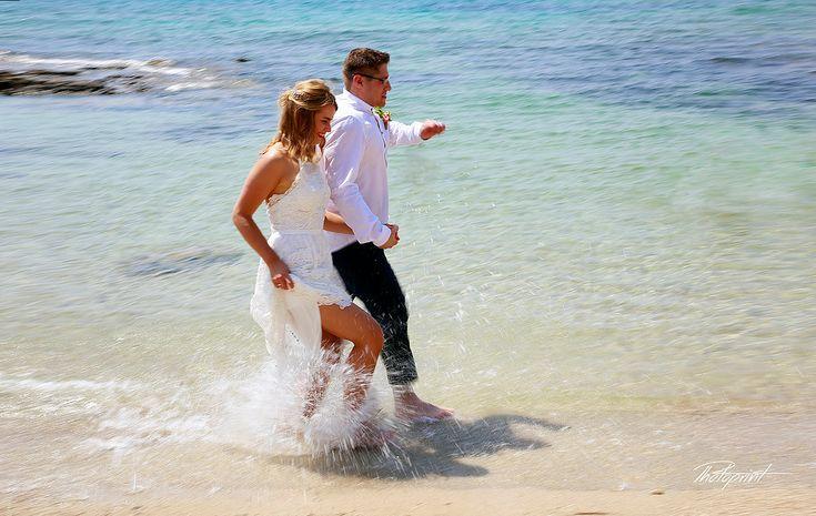 Running At Ammos Tou Kampouri Ayia Napa Holding Hands Smiling Best Wedding Photographers Photoprint Cyprus Photography