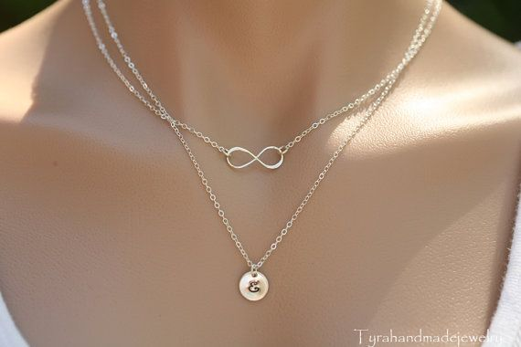 Double layered infinity initial by tyrahandmadejewelry on Etsy, $44.50