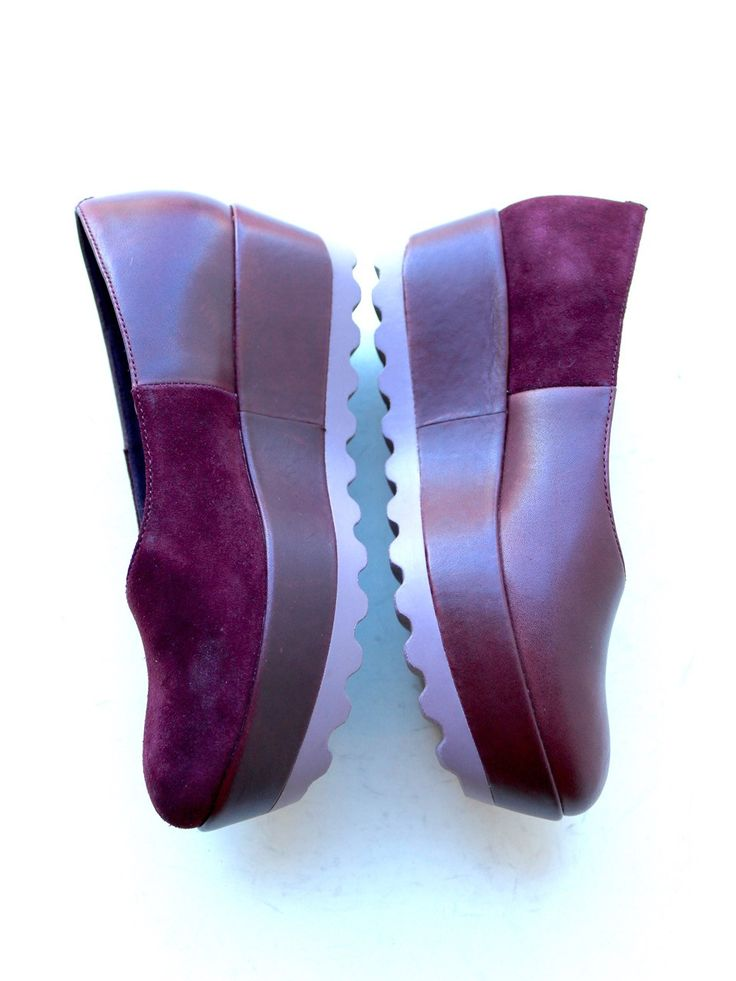 Camper Twins Platform Flat in Plum Leather and Suede – burnt sugar