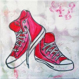 Stoer schilderij voor de tienerkamer van rode Sneakers. Het schilderij is handgeschilderd met acrylverf en bewerkt met Graffiti.