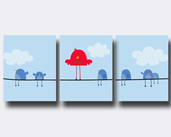 Bird Nursery Art Print Set Blue and Red Bird on a by HopAndPop, $19.00