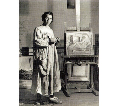 Tove in her Ullanlinnankatu 1 studio in 1944 from www.moomin.com