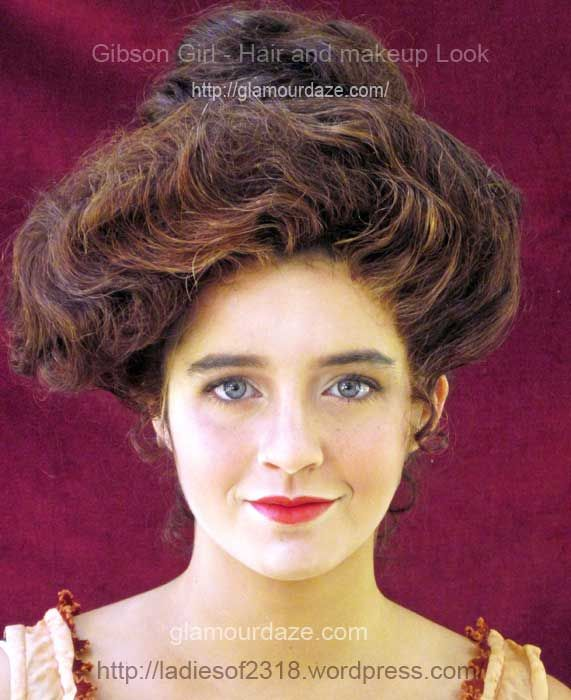Make-up of the 1910s. So pretty! A good website to visit for decade-correct make-up. Gibson-Girl-hair-and-makeup-look-ladies-of-2318-A.jpg (571×700)
