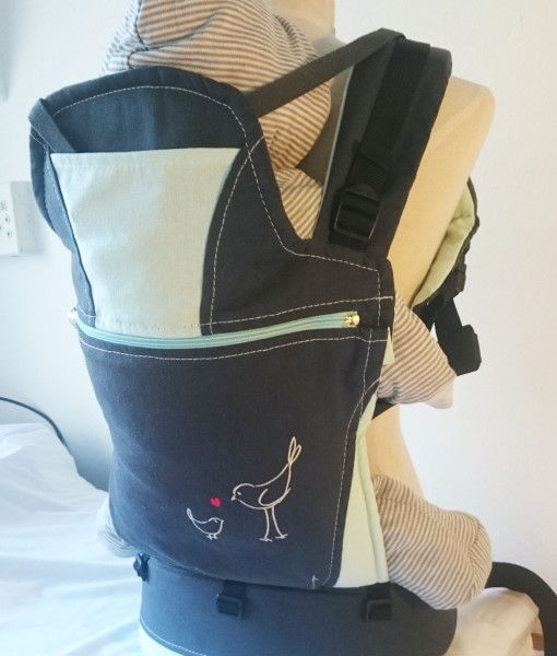 Organic charcoal and turquoise baby carrier