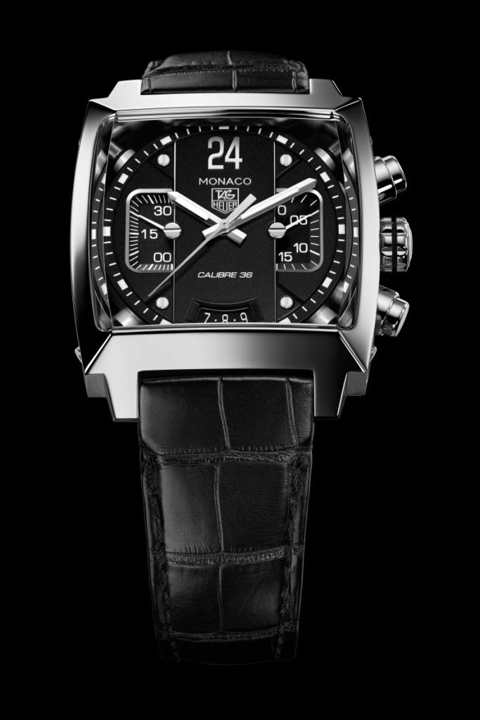 tag heuer monaco twenty four calibre 36 chronograph black. Black Bedroom Furniture Sets. Home Design Ideas