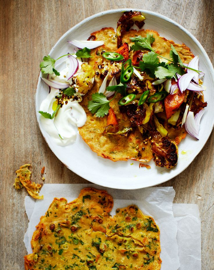 Bill Granger's chickpea pancakes with spiced roasted carrots and cauliflower