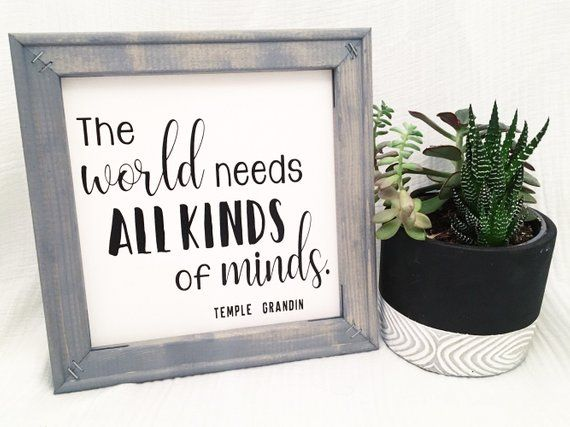 Inspirational Quote Framed Canvas Sign, classroom decor, teacher, sign, autism, temple grandin, famous quote, special ed