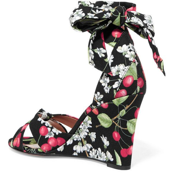 Aquazzura All Tied Up printed canvas wedge sandals ($725) ❤ liked on Polyvore featuring shoes, sandals, wrap around sandals, multi colored wedge sandals, multi coloured sandals, multi colored sandals and aquazzura sandals