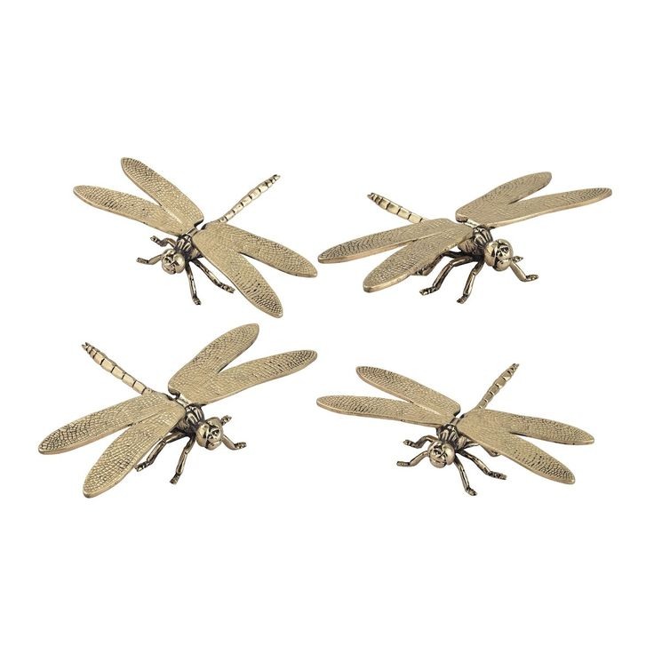 Set of 4 Hand Forged Gold Dragonfly Sculptures by Sterling