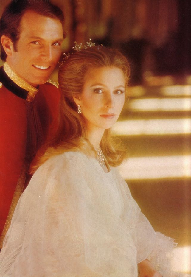 Twenty-three year old Princess Anne in her engagement photo with Mark Phillips, then 25. Prettiest photo of her I've ever seen.