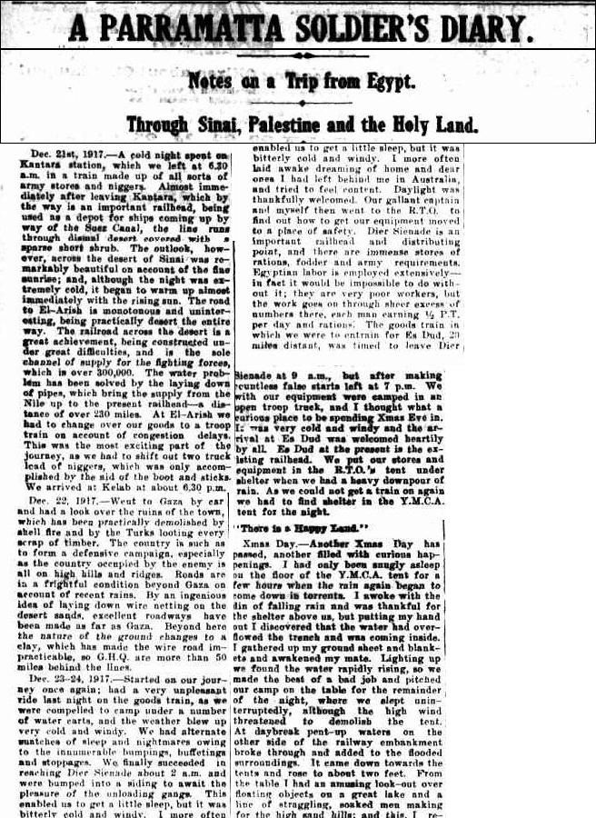 WW1 _ Fred Edmonds _ The Cumberland Argus and Fruitgrowers Advocate (Parramatta, NSW : 1888 - 1950), Wednesday 22 January 1919, page 4