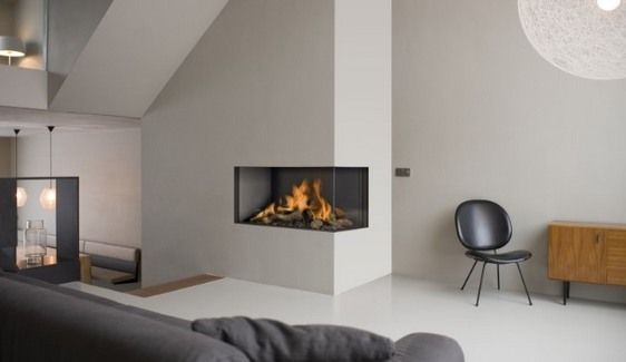 1000 Images About Modern Design 2 Sided Corner Fireplace