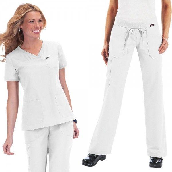 Koi Comfort Set in White. Set Consists of Koi Nicole Top:  • Rib detail on neckline and sleeves  • Two large pockets and a mini chest pocket  • 55% cotton and 45% polyester soft twill    Koi Morgan Trousers:  • Drawstring waist  • Rib-trim waistband  • 5 pockets  £52.50  #medicalscrubs #nursescrubs #dentistscrubs #nurses #dentists #whitescrubs #nurseuniform