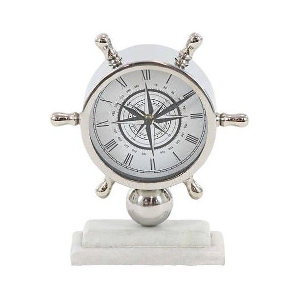 """Nautical 8"""" Wide Polished Silver Table Clock (625 MXN) ❤ liked on Polyvore featuring home, home decor, clocks, nautical clock, nautical home accessories, silver clock, silver desk clock and silver mantel clock"""