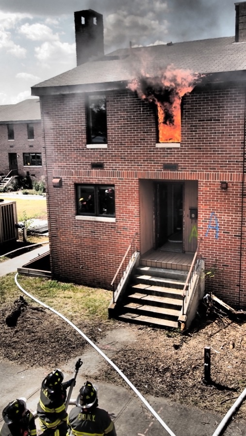 Flames billowing from one of the row homes burned during fire research conducted in partnership with FDNY, NIST, and UL. www.ul.com