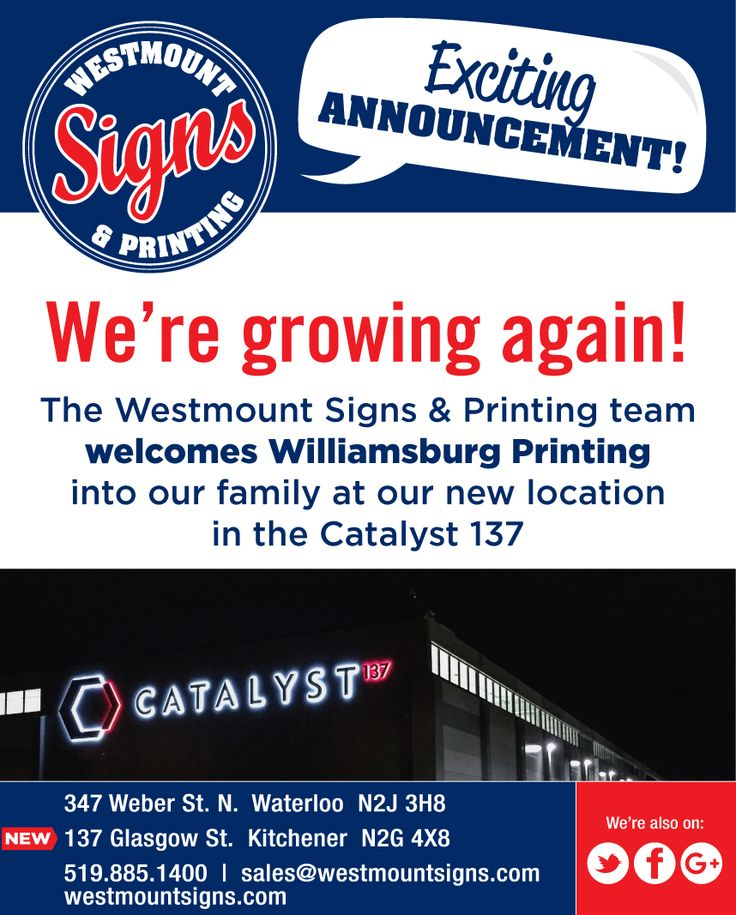 Exciting News! We would like to officially welcome Nadya & Williamsburg Printing into our family at Westmount Signs & Printing! Can't wait to serve new & existing customers at our 2nd location inside Catalyst137 👍