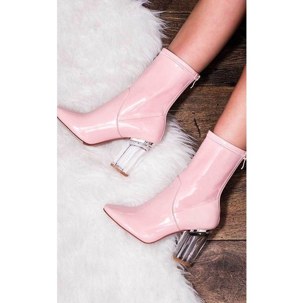 SpyLoveBuy Voltage Zip Perspex Block Heel Ankle Boots Shoes - Pink... ($61) ❤ liked on Polyvore featuring shoes, boots, ankle booties, pink, patent leather booties, back zip boots, patent leather boots, high heel bootie and block heel ankle boots