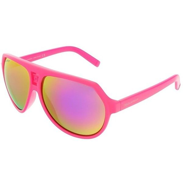Dsquared Dq0093/S 75z Neon Pink Aviator Sunglasses ($80) ❤ liked on Polyvore featuring accessories, eyewear, sunglasses, pink, pink sunglasses, plastic lens glasses, dsquared2 glasses, pink aviator glasses and neon pink sunglasses